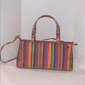 Rainbow striped footed vintage purse